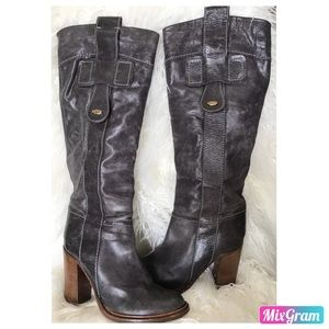 Chloé Tall Knee High Gray Leather Heeled Boots 7.5